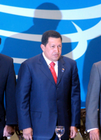 [Photograph: Hugo Chávez September 25, 2005--Chavez standing with blue background]